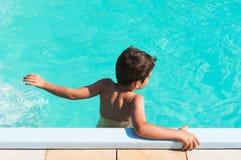 Jong geitje in zwembad stock afbeeldingen