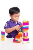 Jong geitjejongen het spelen met blokken van stuk speelgoed geïsoleerde aannemer royalty-vrije stock foto's