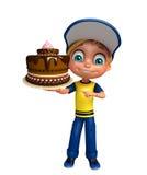 Jong geitjejongen met cake Royalty-vrije Stock Foto