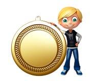Jong geitjejongen met medaille Royalty-vrije Stock Foto