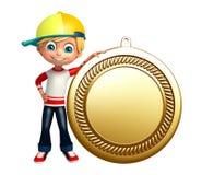Jong geitjejongen met medaille Stock Foto's