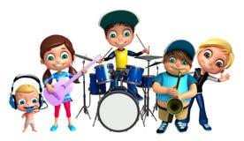 Jong geitjemeisje, jong geitjejongen en leuke baby met Muzikaal instrument vector illustratie