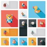 Jong geitjestuk speelgoed vlakke uireeks als achtergrond Stock Foto