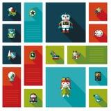 Jong geitjestuk speelgoed vlakke uireeks als achtergrond Royalty-vrije Stock Foto's