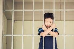 Jong geitjetribune bij de rug van de ijzerbar Stock Fotografie