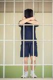 Jong geitjetribune bij de rug van de ijzerbar Royalty-vrije Stock Fotografie