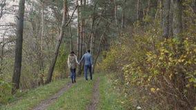 Jong gelukkig paar die in de mooie herfst bos4k lopen stock videobeelden