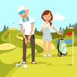 Jong Gelukkig Paar van Man en Vrouwen Speelgolf vector illustratie