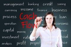 Jong het bedrijfsvrouw schrijven cash flowconcept Stock Fotografie
