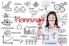 Jong het bedrijfsvrouw schrijven planningsconcept. Geïsoleerd op wit. royalty-vrije stock fotografie