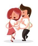 Jong het beeldverhaalkarakter van de paar dansend illustratie Stock Foto