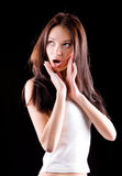 Jong het benieuwd zijn vrouwenportret Stock Foto