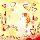 Jong houdend van paar op een abstracte achtergrond Stock Foto