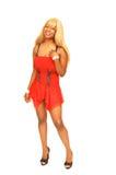 Jong Jamaicaans meisje in rood 66. Royalty-vrije Stock Afbeeldingen