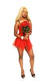 Jong Jamaicaans meisje in rood 83. Stock Fotografie