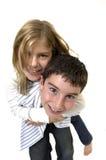 Jong jongen en meisje Stock Foto's