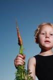 Jong kind dat een wortel houdt Stock Foto's