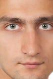 Jong man gezicht. Sluit omhoog macroportret Royalty-vrije Stock Afbeelding