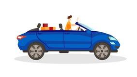 Jong Mannelijk Karakter die Blauwe Convertibele Auto drijven stock illustratie