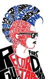 Jong mannelijk punksubcultuur typografisch portret stock illustratie