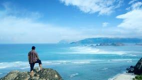 Jong mannetje die van turkoois waterlandschap genieten royalty-vrije stock foto