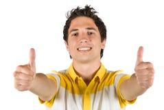 Jong mannetje met omhoog duimen Royalty-vrije Stock Foto's