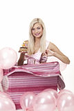 Jong meisje als gift in ballons Stock Afbeelding