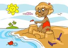 Jong meisje bij het strand Stock Afbeeldingen