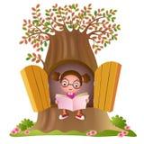 Jong meisje dat een boek leest royalty-vrije illustratie