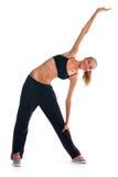 Jong meisje dat geschiktheidsoefeningen doet Stock Foto
