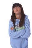 Jong meisje dat haar ogen rolt Royalty-vrije Stock Afbeeldingen