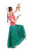 Jong meisje in de Indische nationale kleding met druiven Royalty-vrije Stock Foto's