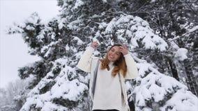 Jong Meisje in de Winter Forest Snowy stock videobeelden