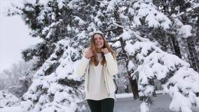 Jong Meisje in de Winter Forest Snowy stock video