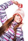 Jong meisje in de winterkleren Stock Afbeelding