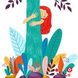 Jong meisje die boom koesteren Vriendschappelijke Eco, het concept van het milieubehoud stock illustratie