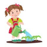 Jong meisje die in de tuin werken Tuin het water geven Stock Foto's