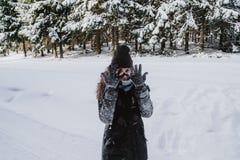 Jong meisje die haar handschoenenhoogtepunt van sneeuw tonen royalty-vrije stock foto