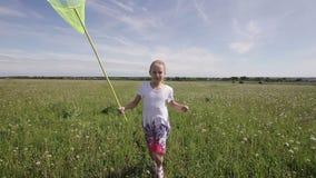Jong meisje die met netto vlinder lopen stock video