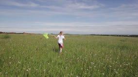 Jong meisje die met netto vlinder lopen stock footage