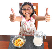Jong Meisje die Ontbijt VIII hebben Royalty-vrije Stock Fotografie
