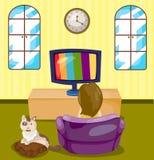 Jong meisje die op TV met kat letten Stock Afbeeldingen