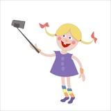 Jong Meisje die Selfie-Foto op Slimme Telefoon nemen Royalty-vrije Stock Fotografie