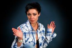 Jong meisje in een plaidoverhemd Stock Afbeelding