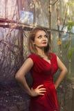 Jong meisje in een rode kleding Stock Foto's