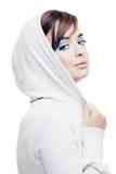 Jong meisje in een witte kap Royalty-vrije Stock Fotografie