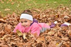 Jong meisje en de de herfstbladeren Stock Afbeelding