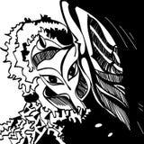 Jong meisje - engelenschets in zwart-wit vector illustratie