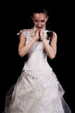 Jong meisje in huwelijkskleding stock fotografie