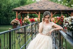 Jong meisje in huwelijkskleding in park het stellen voor fotograaf Zonnig weer, de zomer Royalty-vrije Stock Fotografie